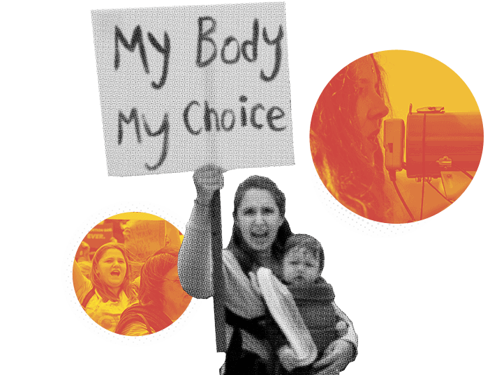 """woman holding """"my body my choice"""" sign"""