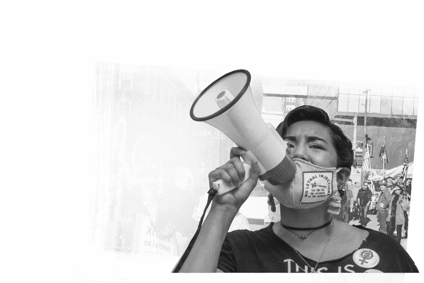 lady talking in to megaphone