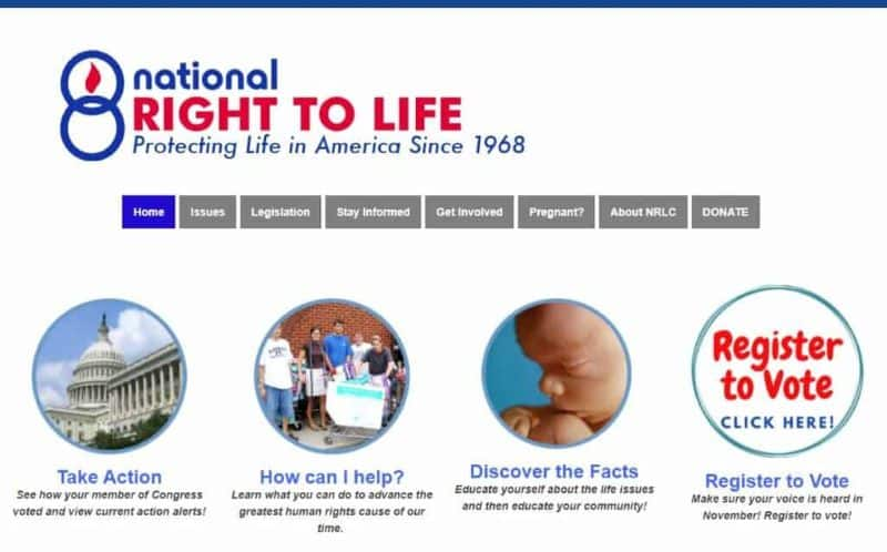 NRLC Website showing the pro-life meaning has changed